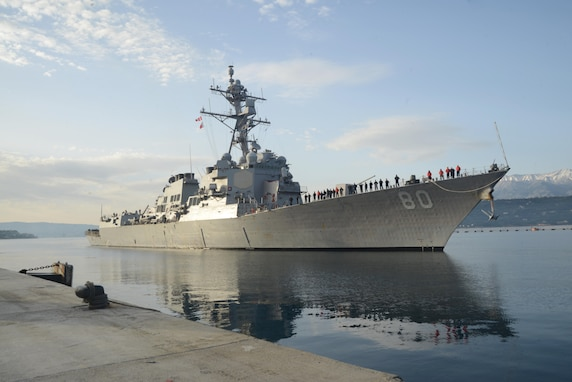 The Arleigh Burke-class guided-missile destroyer USS Roosevelt (DDG 80)