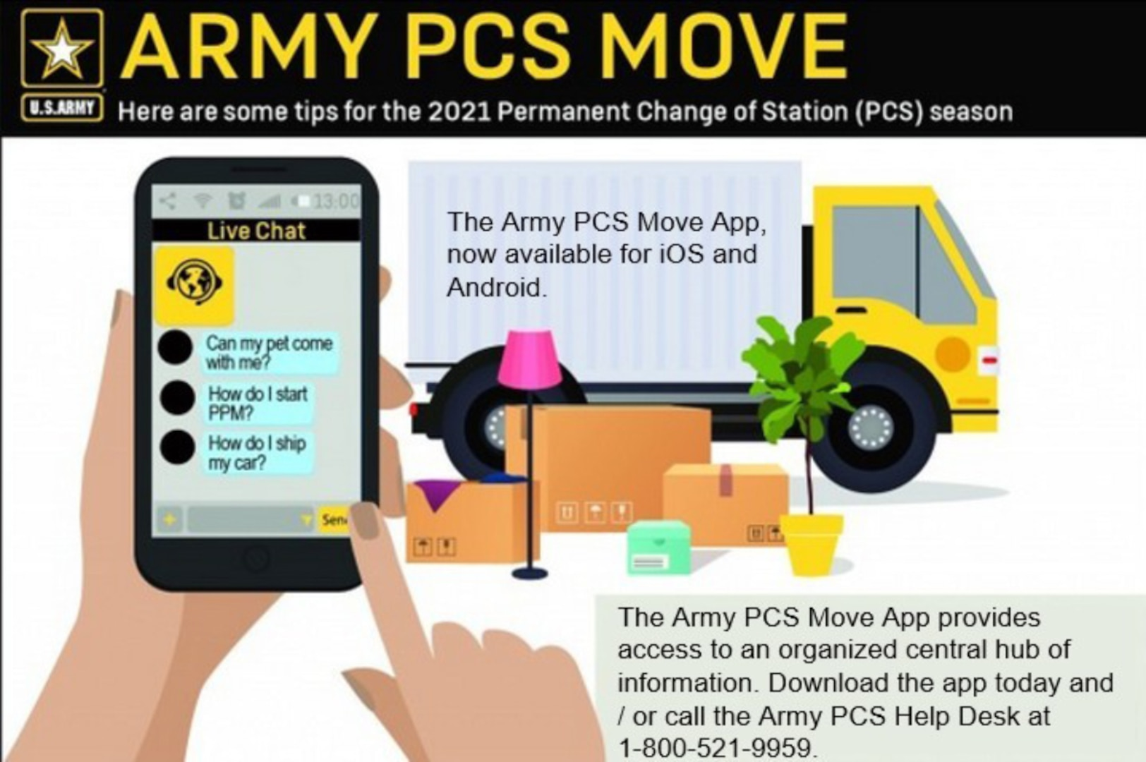 Soldiers and Families can download free apps to assist with the PCS process: Digital Garrison, Army PCS Move, and PCS My POV.