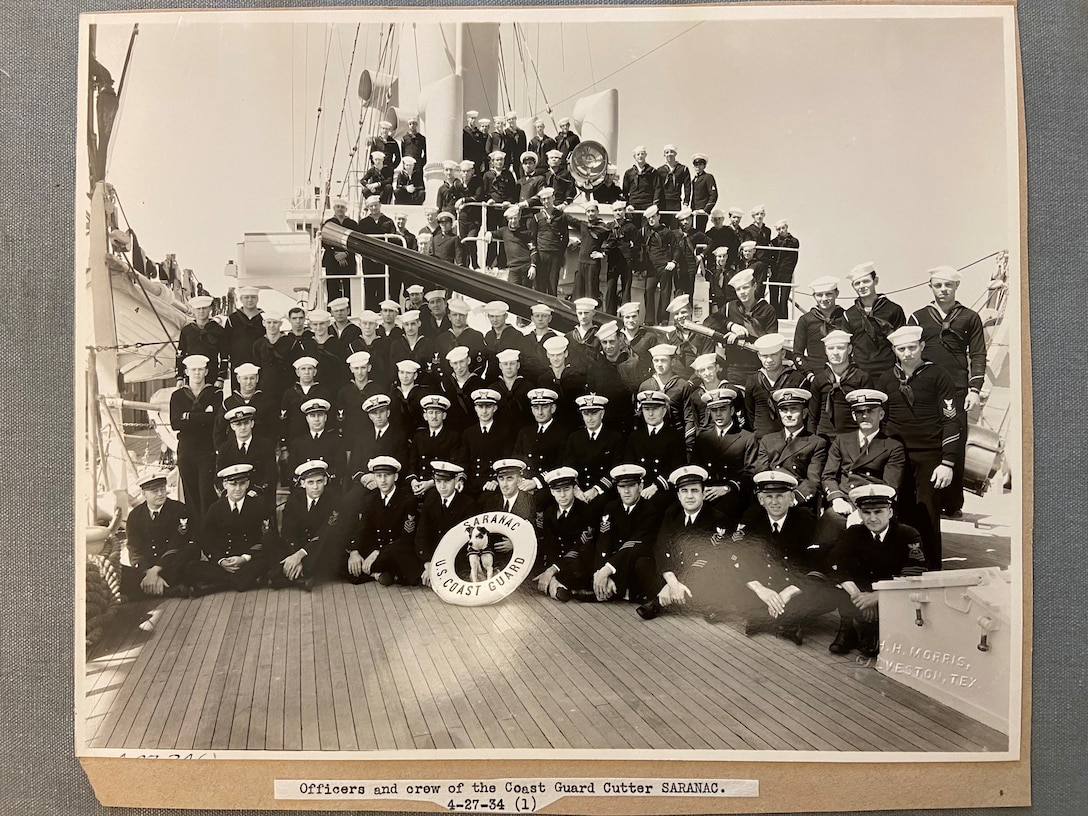 """A photo of the """"Officers and crew of the Coast Guard Cutter SARANAC."""""""