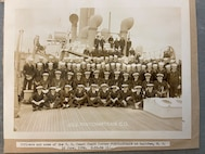 """A photo of the """"Officers and crew of the U.S. Coast Guard Cutter PONCHARTRAIN at Halifax, N.S.,"""