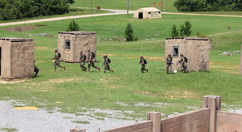 Air Force ROTC cadets scramble for cover during expeditionary skills training