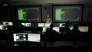 Representatives from all eleven U.S. combatant commands participate in the third series of Global Information Dominance Experiments (GIDE) at North American Aerospace Defense Command and U.S. Northern Command Headquarters, July 13, 2021.