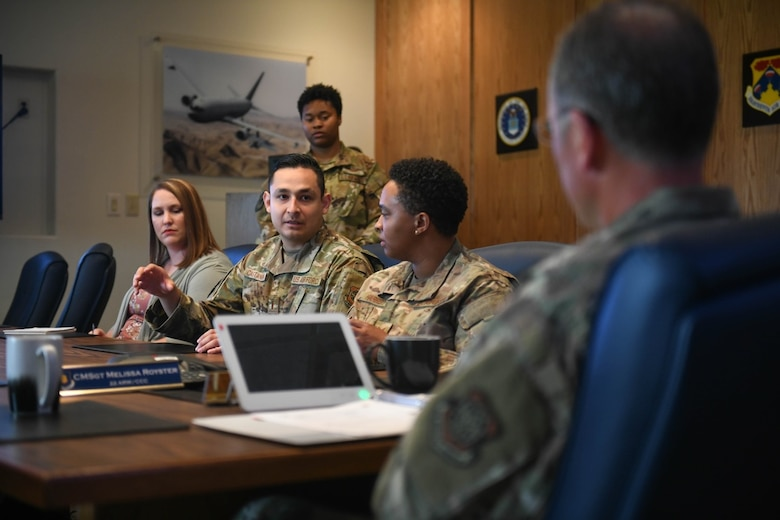 2nd Lt. Daniel Castaneda, 22nd Contracting Squadron commodity acquisitions team officer in charge, discusses program initiatives for McConnell Air Force Base's Diversity and Inclusion Taskforce during a meeting with wing leadership July 20, 2021, at McConnell AFB, Kansas. Since 2020, Team McConnell is continuously working towards cultural competency that will enable Airmen to thrive and effectively accomplish the mission. (U.S. Air Force photo by Senior Airman Nilsa Garcia)