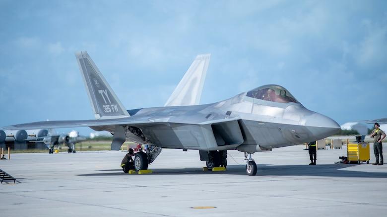 A U.S. Air Force F-22 Raptor sits on the flight line