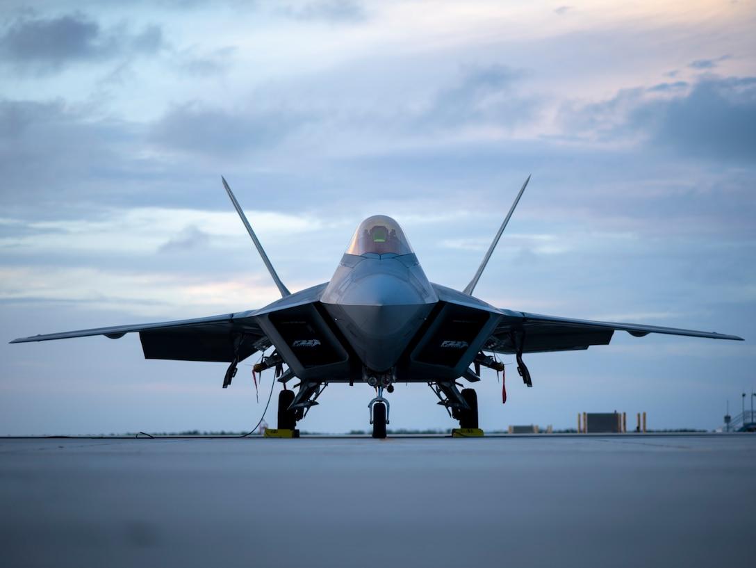 A U.S. Air Force F-22 Raptor sits on the flight line.