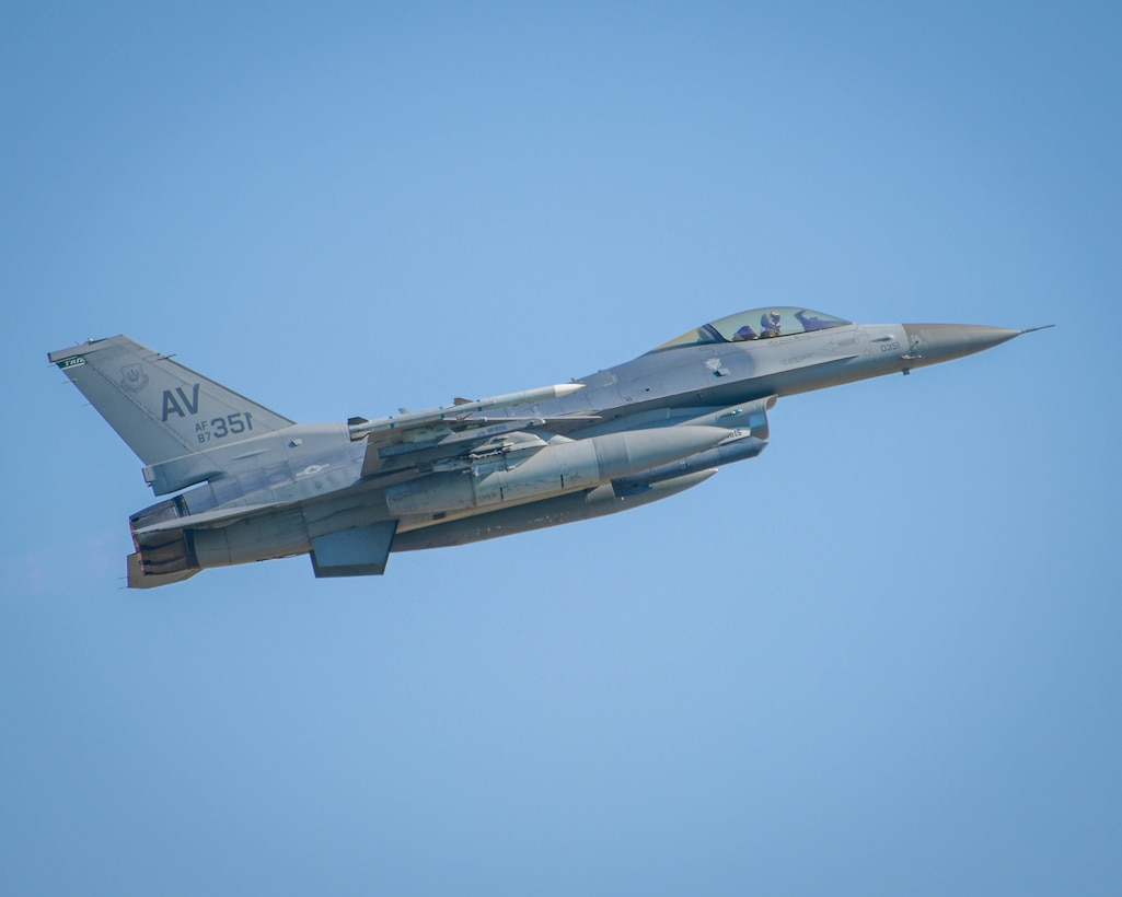A U.S. Air Force F-16 Fighting Falcon assigned to the 555th Fighter Squadron takes off during exercise Thracian Star 21 at Graf Ignatievo Air Base, Bulgaria, July 12, 2021. Exercise objectives included maximizing interoperability, combat effectiveness and survival awareness while operating in a dynamic high-threat environment. (U.S. Air Force photo by Airman 1st Class Brooke Moeder)