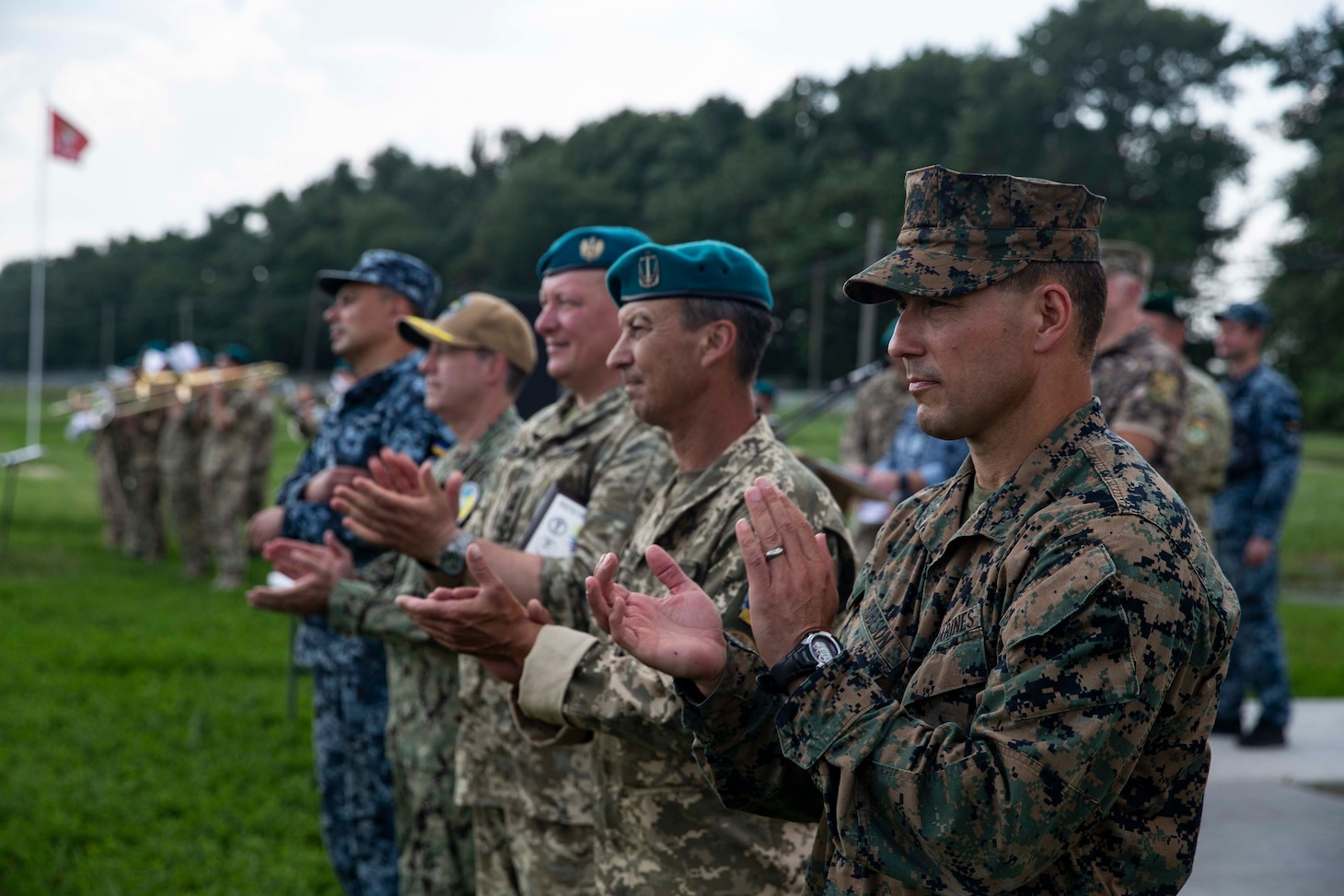 Senior leaders of the forces of the land component of Exercise Sea Breeze participate in the closing ceremony in Oleshky Sands, Ukraine, July 10, 2021.