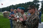 Senior leaders of the forces of the land component of Exercise Sea Breeze participate in the closing ceremony in Oleshky Sands, Ukraine, July 10, 2021. Exercise Sea Breeze is a multinational maritime exercise cohosted by the U.S. Sixth Fleet and the Ukrainian Navy since 1997. Sea Breeze 2021 is designed to enhance interoperability of participating nations and strengthens maritime security and peace in the region.
