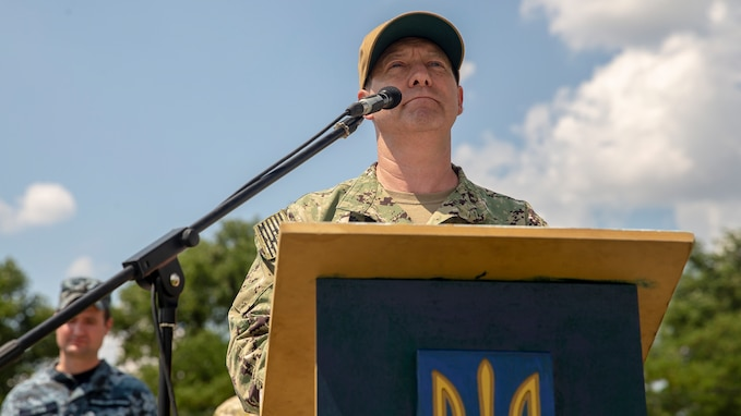 U.S. Navy Capt. Stuart Bauman, a senior officer with U.S. Sixth Fleet, gives his remarks in the closing ceremony of Exercise Sea Breeze 21 in a nondisclosed location on July 8, 2021.