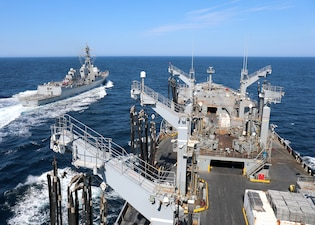The guided missile destroyer USS Truxton (DDG 103) pulls away from the fleet replenishment oiler USNS Joshua Humphreys (T-AO 188) after completing an underway replenishment-at-sea in the Atlantic Ocean.