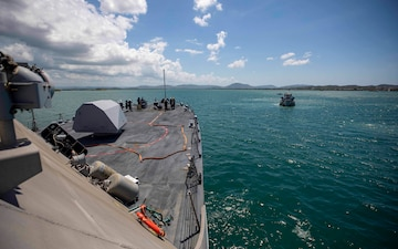 The Freedom-variant littoral combat ship USS Billings (LCS 15) departs Naval Station Guantanamo Bay after completing a brief stop for fuel and provisions