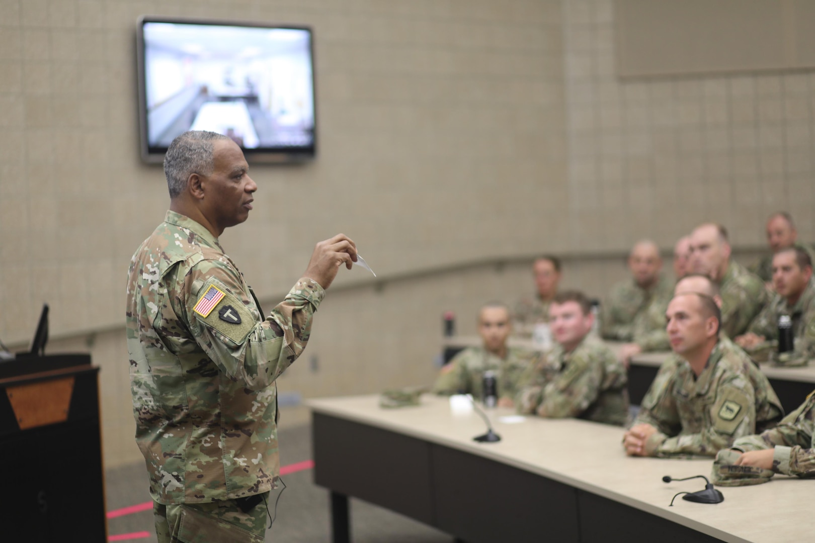 Army National Guard Command Sgt. Maj. John Sampa addresses South Dakota Army National Guard Soldiers at Camp Rapid in Rapid City, S.D., July 11, 2021. Sampa's talked about his initiative to have open conversations about suicide, sexual harassment and sexual assault in the National Guard.