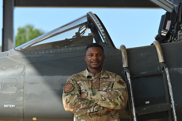 U.S. Air Force Tech. Sgt. Teddrick Thibodeaux, 14th Operations Support Squadron Aircrew Flight Equipment (AFE) flight chief, poses for a photo on the flight line, July 22, 2021, on Columbus Air Force Base, Miss. Thibodeaux was selected to become a part of the elite Thunderbirds and will being his new journey in September, 2021. (U.S. Air Force photo by Airman 1st Class Jessica Haynie)