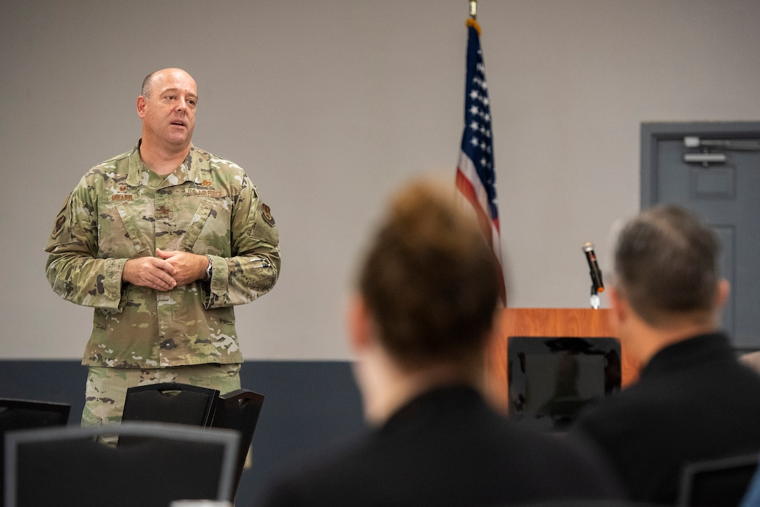 Col. Patrick Miller, 88th Air Base Wing and installation commander, welcomes Leadership Dayton members to Wright-Patterson Air Force Base on July 14. Leadership Dayton is designed to identify, educate and motivate a network of local leaders and increase their capacity to serve the Dayton region. (U.S. Air Force photo by R.J. Oriez)