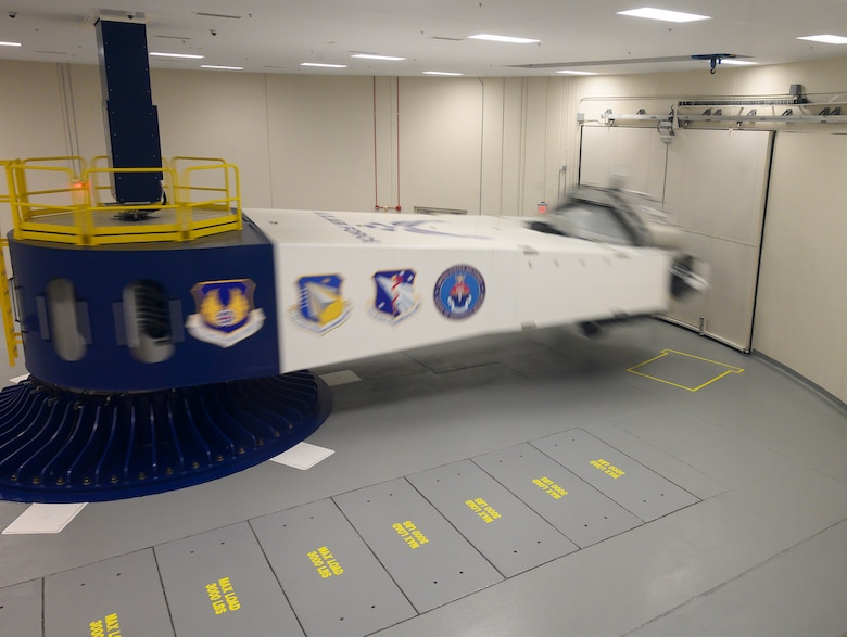 The 711th Human Performance Wing's centrifuge spins with a test subject inside July 14. The Leadership Dayton class was shown the centrifuge in action while staff discussed the research and training accomplished by the wing. (U.S. Air Force photo by R.J. Oriez)