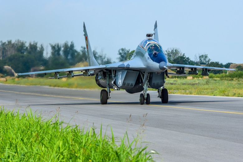 A Bulgarian air force MiG-29 taxis on the flightline during Thracian Star 21 at Graf Ignatievo Air Base, Bulgaria, July 20, 2021. THS21 allowed both U.S. Airmen and Bulgarian forces to extend joint warfighting capability through operational and tactical training. (U.S. Air Force photo by Airman 1st Class Brooke Moeder)