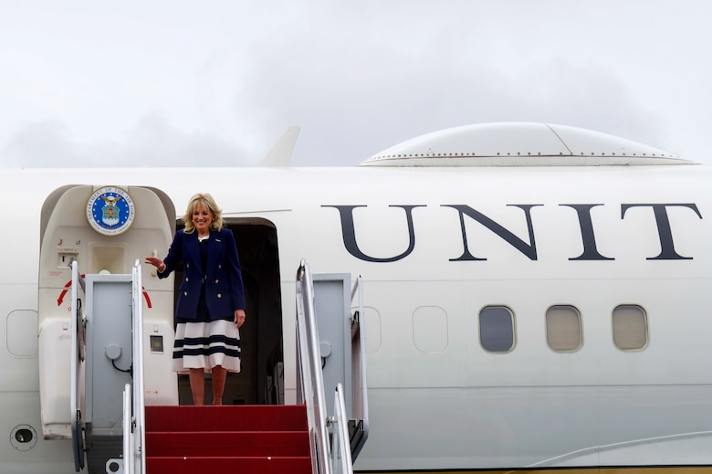 First Lady Dr. Jill Biden visits Joint Base Elmendorf-Richardson, Alaska, July 21, 2021, during a refueling stop. Dr. Biden was traveling to the 2020 Tokyo Summer Olympics.