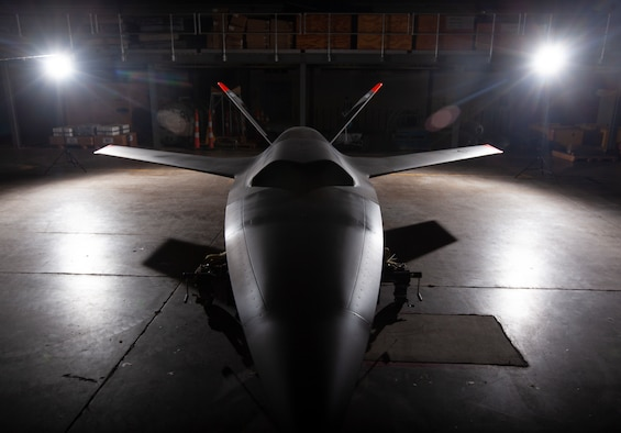 The U.S. Air Force Research Laboratory delivers Kratos XQ-58A Valkyrie, Tail #1 to the National Museum of the U.S. Air Force. (U.S. Air Force photo by Ty Greenlees)