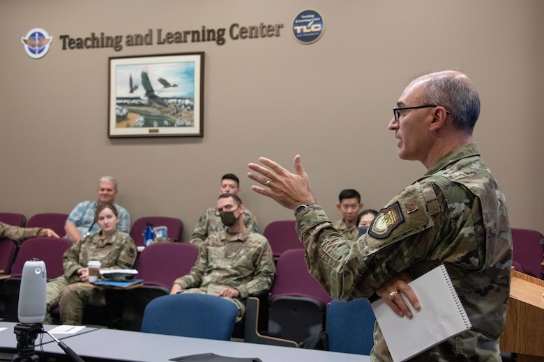 Col. Kevin Parker, Associate Dean, Air Force Cyber College, leads U.S. Air Force and U.S. Space Force Language Enabled Airmen Program (LEAP) scholars attending the Cyber Language Intensive Training Event (LITE) through a role playing scenario involving fictitious air operations in a forward theater that are potentially impacted by cybersecurity issues, Jul.22, 2021. Cyber LITE is a Strategic Power Competition course co-sponsored by the Air Force Culture and Language Center and Air Force Cyber College for advanced language proficiency LEAP scholars who have career-related ties to cyber operations and/or an academic background in cyber studies.