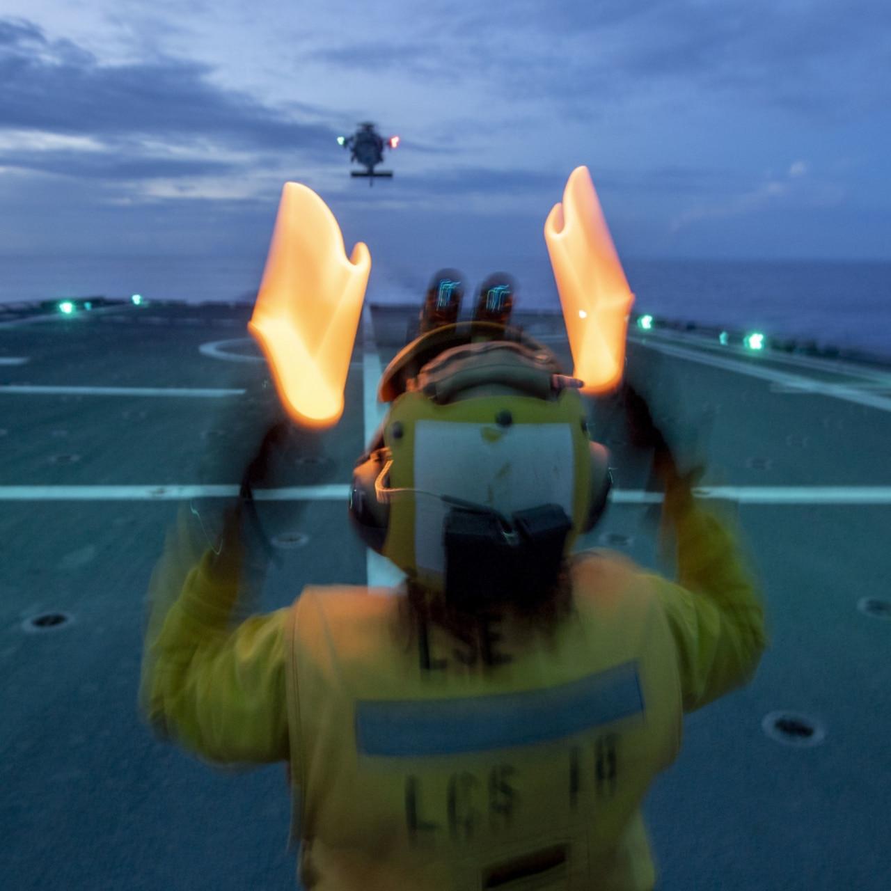 Flight Operations On Board USS Charleston (LCS 18)