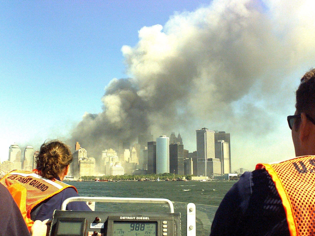 A Coast Guard rescue team from Sandy Hook, NJ, races to the scene of the World Trade Center terrorist attack.
