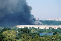 A photo of the Pentagon burning after the terrorist attack.