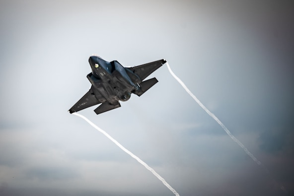 An F-35A Lightning II assigned to the 354th Fighter Wing (FW) takes off during an Agile Combat Employment exercise on Eielson Air Force Base, Alaska, July 13, 2021. The 354th FW conducted a local exercise from a simulated austere location to test its ability to generate airpower quickly, efficiently and repeatedly. (U.S. Air Force photo by Airman 1st Class Jose Miguel T. Tamondong)