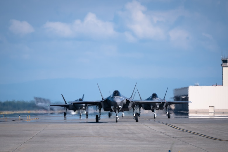 Multiple F-35A Lightning II aircraft assigned to the 354th Fighter Wing taxis on the runway during an Agile Combat Employment (ACE) exercise on Eielson Air Force Base, Alaska, July 15, 2021. The 354th FW applied ACE concepts to become more agile in mission execution, strategic deterrence, and more capable in generating an increased number of sorties with a minimal footprint from a simulated austere environment. (U.S. Air Force photo by Airman 1st Class Jose Miguel T. Tamondong)