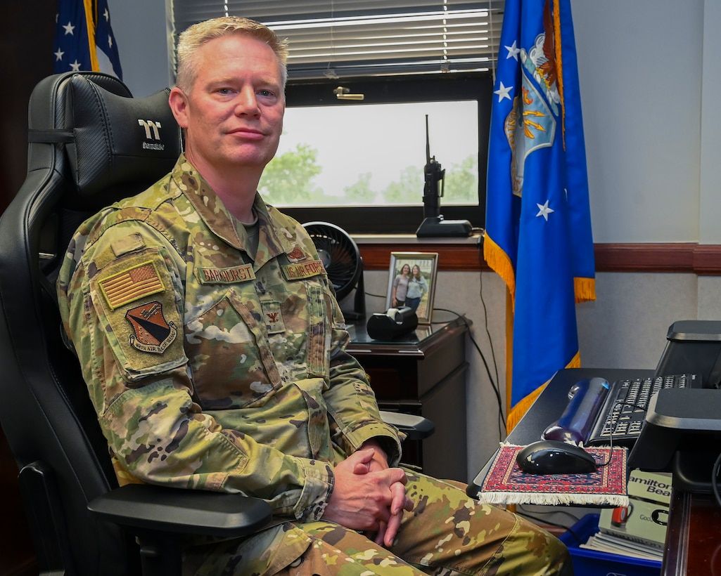 Col. Charles Barkhurst, 88th Air Base Wing vice commander, is pictured July 20 in his office at Wright-Patterson Air Force Base. Barkhurst assumed his new duties July 1.