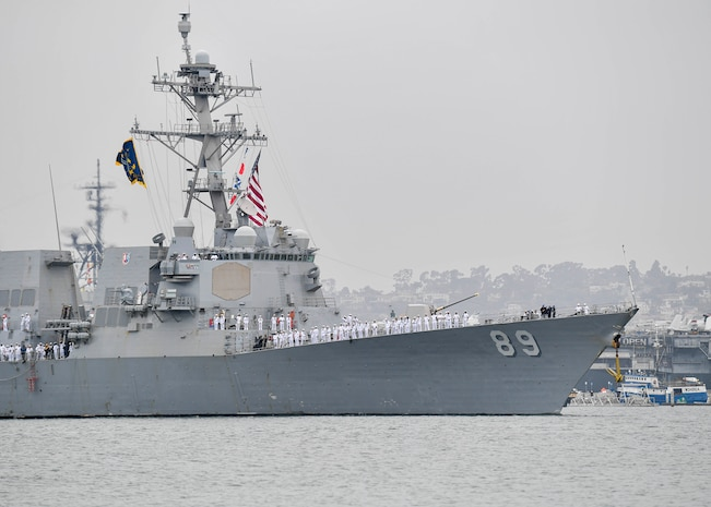 USS Mustin returns to San Diego after 15 years of service in Japan