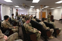 Chief Master Sgt. Kristina Rogers, 19th Air Force command chief, speaks to students at the Holloman Airman Leadership School, July 19, 2021, on Holloman Air Force Base, N.M. The students had an opportunity to seek mentorship from Rogers about leadership and U.S. Air Force policy. (U.S. Air Force photo by Staff Sgt. Christopher S. Sparks.)