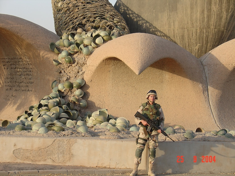 Lt. Col. Steve Wilson poses for a photo in Iraq, September 25, 2004. Wilson was the first liaison to accompany the Mongolian Armed Forces on a deployment during the Global War on Terrorism as part of the state partnership program. The SPP is a program that links a state's National Guard with the armed forces or equivalent of a partner country in a cooperative, mutually beneficial relationship. (Courtesy photo)