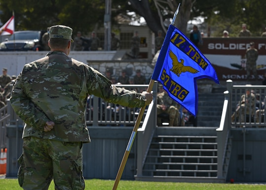 Chief Master Sgt. Matthew Robinson, 517th Training Group superintendent, stands in formation during the 517th TRG change of command ceremony at the Presidio of Monterey, California, July 23, 2021. At the ceremony, Col. Jennifer Saraceno, incoming commander, assumed command from Col. Stephanie Kelley, 517th TRG outgoing commander. (U.S. Air Force photo by Senior Airman Ashley Thrash)