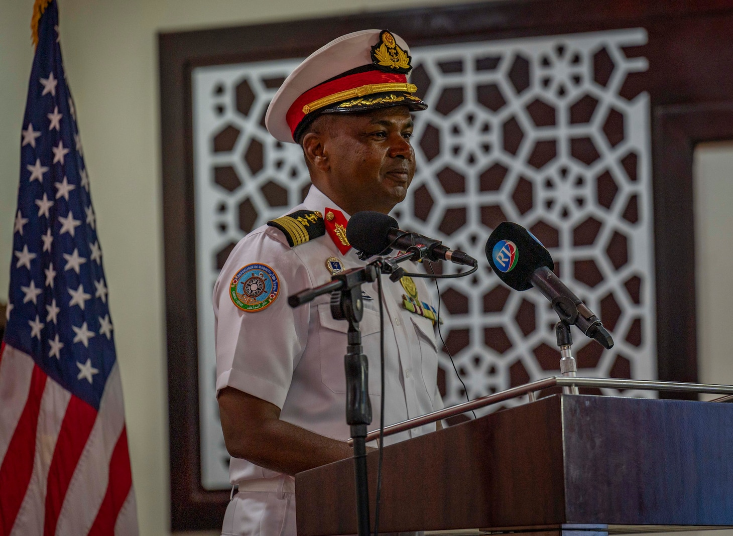 (July 25, 2021) Djiboutian Navy Commander Col. Ahmed Daher Djama provides remarks during the exercise Cutlass Express 2021 opening ceremony held at the Doraleh Coast Guard training center in Djibouti, Djibouti, July 25, 2021. Cutlass Express is designed to improve regional cooperation, maritime domain awareness and information sharing practices to increase capabilities between the U.S., East African and Western Indian Ocean nations to counter illicit maritime activity.