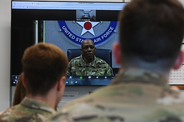U.S. Air Force Chief of Staff Gen. CQ Brown, Jr. speaks with members of the Space and Missile Systems Center's Galaxy program during a mentoring session at Los Angeles Air Force Base, California, July 9, 2021. Galaxy is the U.S. Space Force's premier professional development experience for both junior military and civilian acquisition professionals at SMC. (U.S. Space Force photo by Staff Sgt. Andrew Moore)