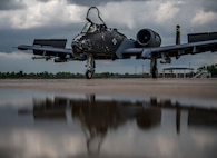 An A-10C Thunderbolt II aircraft with the 122nd Fighter Wing, Fort Wayne, Indiana, taxis on the flight line, July 15, 2021, at the 122nd Fighter Wing, Fort Wayne, Indiana. The new black paint scheme commemorates 100 years of aviation in the Indiana National Guard.