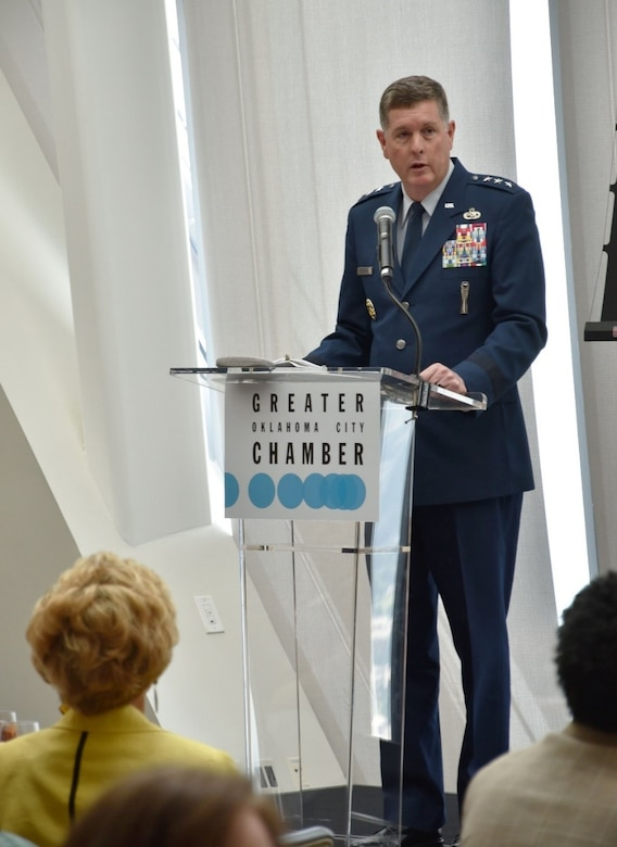 Air Force Sustainment Center Commander Lt. Gen. Gene Kirkland updates the more than 100 attendees of the Greater Oklahoma City Chamber Forum on work accomplished at the center