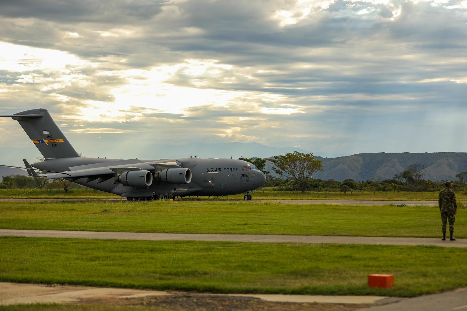 A U.S. Air Force C17 Globemaster III lands at Tolemaida Air Base, Nido, Colombia, July 21, 2021.