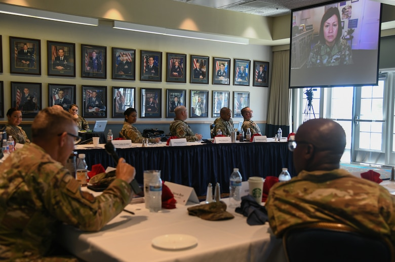 """Space Launch Delta 30 leadership gathers for the first SLD 30 Senior Enlisted Leaders' Summit, July 22, 2021 at Vandenberg Space Force Base, Calif. SLD 30 leadership from across the Delta addressed challenges, contributions and concerns of Airmen and Guardians. The Chief Master Sergeant of the Air Force Joanne Bass addressed the group virtually noting, """"Our Airmen want to know what the current landscape is and how they can help propel us into the future."""" (U.S. Space Force photo by Airman 1st Class Rocio Romo)"""