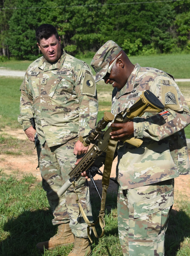Virginia and Kentucky National Guard Soldiers assigned to the 116th Infantry Brigade Combat Team conduct a live-fire range with the M110A1 Squad Designated Marksman Rifle during a new equipment training and fielding July 14, 2021, at Fort Pickett, Virginia.