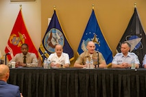 The 19th Sergeant Major of the Marine Corps, Sgt. Maj. Troy E. Black, attends the 2021 Annual Non-Commissioned Officers Association (NCOA) Conference, San Antonio, Tx, July 21, 2021. The Sergeant Major of the Marine Corps spoke as part of a panel of Senior Enlisted Advisors to discuss leadership and answer questions. The NCOA is made up of 40,000 members that are serving or have served in the Armed Forces. (U.S. Marine Corps photo by Sgt. Victoria Ross)