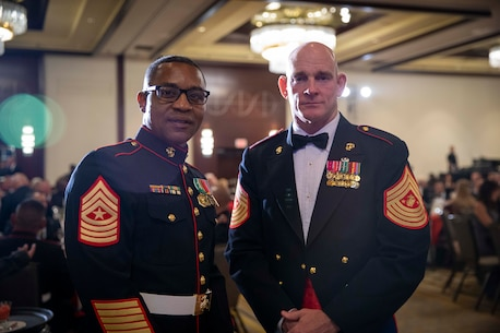 The 19th Sergeant Major of the Marine Corps, Sgt. Maj. Troy E. Black, attends the Marine Corps Aviation Association (MCAA) Awards Banquet, Dallas, Tx, July 22, 2021. The Sergeant Major of the Marine Corps attended to present the Marine aviators who received 2021 awards. The MCAA is a non-profit organization that recognizes professional excellence in Marine aviation, educates the public on its history and heritage, and annually awards 28 Marine Corps Aviation Awards. (U.S. Marine Corps photo by Sgt. Victoria Ross)