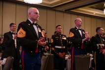 The 19th Sergeant Major of the Marine Corps, Sgt. Maj. Troy E. Black, attends the Marine Corps Aviation Association (MCAA) Awards Banquet, Dallas, Texas, July 22, 2021. The Sergeant Major of the Marine Corps attended to present the Marine aviators who received 2021 awards. The MCAA is a non-profit organization that recognizes professional excellence in Marine aviation, educates the public on its history and heritage, and annually awards 28 Marine Corps Aviation Awards. (U.S. Marine Corps photo by Sgt. Victoria Ross)