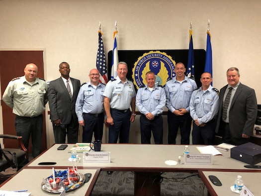 Brig. Gen. Brian Bruckbauer (center left), director of the Air Force Security Assistance and Cooperation Directorate (AFSAC) escorted a delegation of Israeli Air Force members during a recent visit to Wright-Patterson Air Force Base, Ohio. (Courtesy photo)