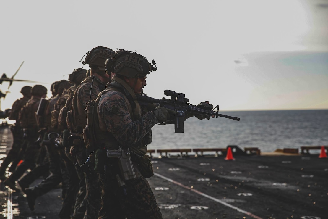 Marines with the 24th Marine Expeditionary Unit participate in a live-fire range aboard the Wasp-class amphibious assault ship USS Iwo Jima (LHD 7), April 16, 2021. 24th MEU, embarked with the Iwo Jima Amphibious Ready Group, is forward-deployed in the U.S. Sixth Fleet area of operations in support of U.S. national security interests in Europe and Africa.