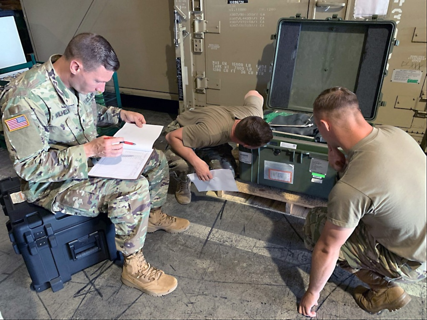 Soldiers with the 311th Field Hospital, a unit out of Blacklick, Ohio, inventory equipment for movement from Sagami Army Depot to Yokota Air Force Base for a field hospital during a training exercise in Japan in June.