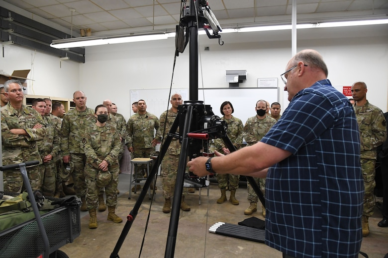 Joseph Spears, 338th Training Squadron instructor, provides a radio frequency transmissions course briefing inside Bryan Hall at Keesler Air Force Base, Mississippi, July 21, 2021. The 81st Training Support Squadron hosted the Cyber Operations Specialty Training and Requirements Team Conference for cyber operations career field managers and MAJCOM functional managers July 19-23. (U.S. Air Force photo by Kemberly Groue)