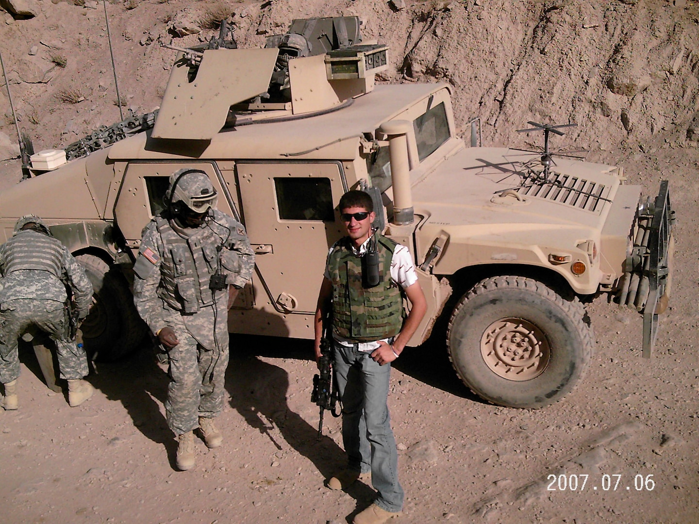 Fahim Masoud on a mission to Qala e Naw, in the Badghis Province in northeast Afghanistan. Masoud, now a second lieutenant in the Illinois Army National Guard, served as an interpreter for the U.S. military before coming to the United States on a student visa.
