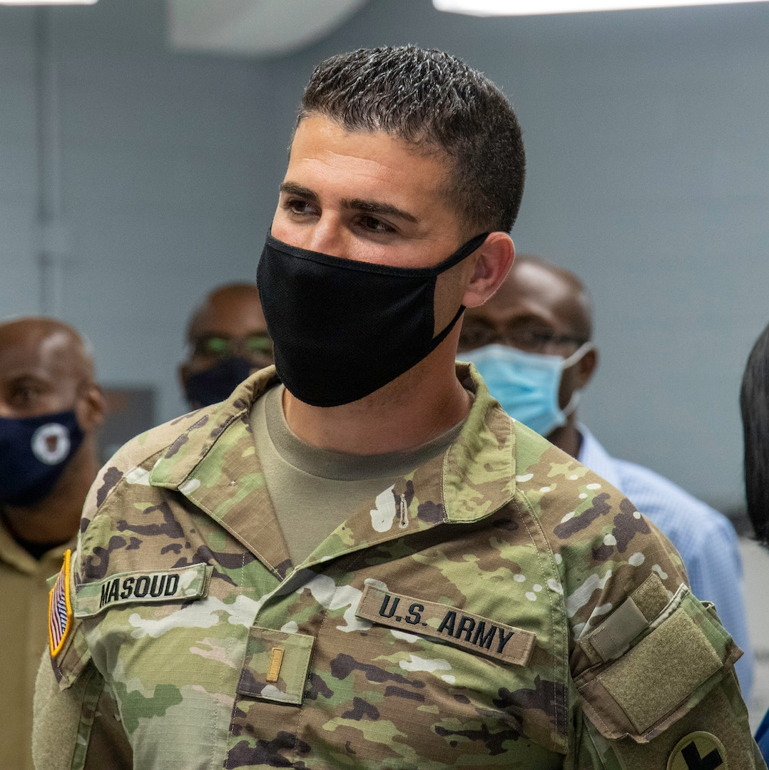 2nd Lt. Fahim Masoud, of Stafford, Virginia, Company D, 766th Brigade Engineer Battalion, based in Bloomington, Illinois, was among members of the Illinois National Guard activated to assist local health departments at mass vaccination sites. Masoud serves as the Officer-in-Charge of the mass vaccination site in Matteson, Illinois.