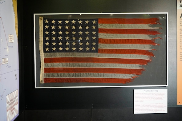 This flag was flown on the U.S.S. St. Louis at Pearl Harbor on Dec. 7, 1941, the day of the Japanese attack